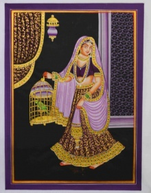 Unknown | Mughal Traditional art title Ragini With Parrot on Silk | Artist Unknown Gallery | ArtZolo.com