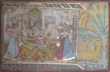 Traditional Indian art title Raja At Court on Paper - Mughal Paintings
