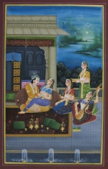 E Craft | Mughal Traditional art title Raja Rani Romantic Moments on Silk | Artist E Craft Gallery | ArtZolo.com