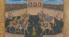 Traditional Indian art title Rajput Princesses Playing Chougan on Paper - Mughal Paintings