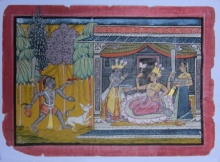 Traditional Indian art title Rani At Court on Paper - Mughal Paintings