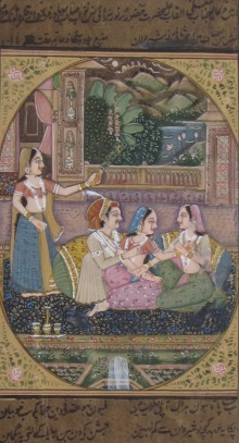Traditional Indian art title Recreating Melodies Mughal Painting on Paper - Mughal Paintings