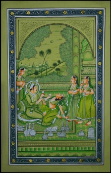 Traditional Indian art title Romancing Royal Couple on Paper - Mughal Paintings