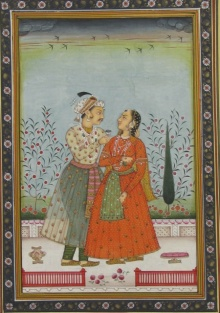 Traditional Indian art title Romantic Mughal Pair on Paper - Mughal Paintings