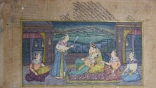 Traditional Indian art title Royal Amusement on Paper - Mughal Paintings