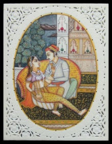 Traditional Indian art title Royal Amusement on Plastic Sheet - Mughal Paintings