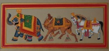 Traditional Indian art title Royal Animals 2 on Paper - Mughal Paintings