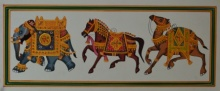art, traditional, mughal, paper, animals
