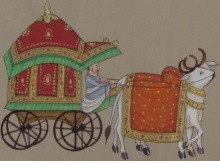 Traditional Indian art title Royal Bull Cart on Paper - Miniature Paintings