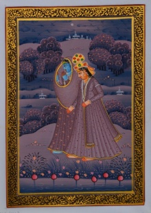 Traditional Indian art title Royal Couple In Lawn At Night on Silk - Miniature Paintings