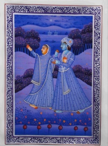 Traditional Indian art title Royal Couple Moments on Silk - Mughal Paintings
