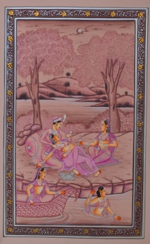 Traditional Indian art title Royal Couple Romantic Moments on Paper - Mughal Paintings