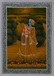 Traditional Indian art title Royal Couple Sweet Moment on Silk - Miniature Paintings