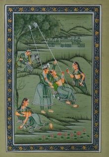 Traditional Indian art title Royal Couple Swinging With Sevika 1 on Silk - Mughal Paintings