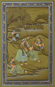 Traditional Indian art title Royal Couple Swinging With Sevika 2 on Paper - Mughal Paintings