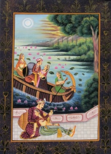 Traditional Indian art title Royal Couples on Silk - Miniature Paintings