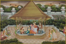 Traditional Indian art title Royal Courtyard Scene on Silk - Mughal Paintings