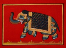 Traditional Indian art title Royal Elephant 1 on Silk - Miniature Paintings