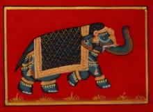 Traditional Indian art title Royal Elephant 2 on Silk - Miniature Paintings