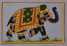 Traditional Indian art title Royal Elephant 3 on Silk - Miniature Paintings
