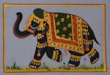 Traditional Indian art title Royal Elephant 4 on Silk - Miniature Paintings
