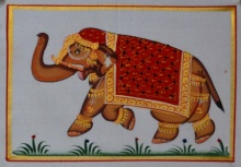 Unknown | Miniature Traditional art title Royal Elephant 6 on Silk | Artist Unknown Gallery | ArtZolo.com