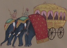 Unknown | Mughal Traditional art title Royal Elephant Cart on Paper | Artist Unknown Gallery | ArtZolo.com
