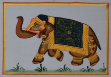 Traditional Indian art title Royal Elephant In Lawn 1 on Silk - Miniature Paintings