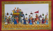 Traditional Indian art title Royal Elephant In Procession on Paper - Mughal Paintings