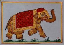 Traditional Indian art title Royal Elephant Walking 1 on Silk - Miniature Paintings