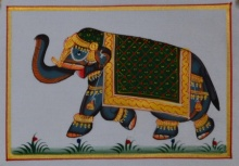 Traditional Indian art title Royal Elephant Walking 2 on Silk - Miniature Paintings