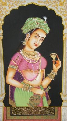 Traditional Indian art title Royal Lady on Paper - Miniature Paintings