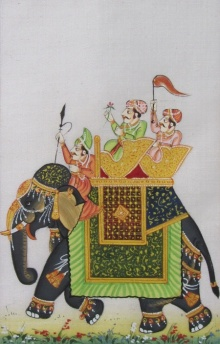Traditional Indian art title Royal March On Elephant on Silk - Miniature Paintings
