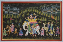 Unknown | Mughal Traditional art title Royal Mughal Procession on Silk | Artist Unknown Gallery | ArtZolo.com