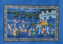Traditional Indian art title Royal Mughal Procession on Silk - Mughal Paintings