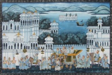 Traditional Indian art title Royal Procession on Silk - Mughal Paintings