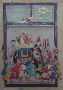 Unknown | Mughal Traditional art title Royal Procession on Paper | Artist Unknown Gallery | ArtZolo.com