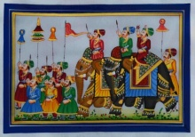 Unknown | Mughal Traditional art title Royal Procession 2 on Silk | Artist Unknown Gallery | ArtZolo.com