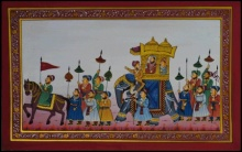 Traditional Indian art title Royal Procession on Paper - Mughal Paintings