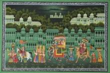 Traditional Indian art title Royal Procession At Night on Silk - Mughal Paintings