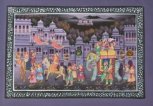 Unknown | Mughal Traditional art title Royal Procession In Town on Silk | Artist Unknown Gallery | ArtZolo.com