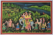 Traditional Indian art title Royal Procession Passing Through Woods 1 on Silk - Mughal Paintings
