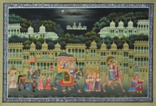 Unknown | Mughal Traditional art title Royal Procession With Camel Horse And El on Silk | Artist Unknown Gallery | ArtZolo.com