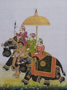 Traditional Indian art title Royal Procession With Elephant on Silk - Miniature Paintings
