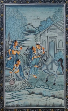 Traditional Indian art title Royal Romatic Scene on Paper - Mughal Paintings