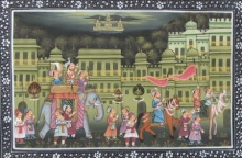 Traditional Indian art title Royal Troop Mughal Painting on Silk - Miniature Paintings