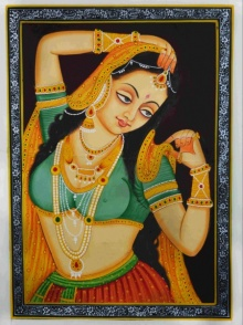 Traditional Indian art title Royal Woman Displaying Ornaments on Silk - Mughal Paintings