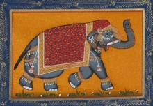 Traditional Indian art title Saluting Elephant 1 on Silk - Miniature Paintings