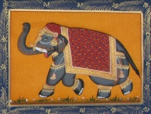 Traditional Indian art title Saluting Elephant 2 on Silk - Miniature Paintings
