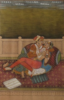 Traditional Indian art title Splendid Mughal Couple on Paper - Mughal Paintings